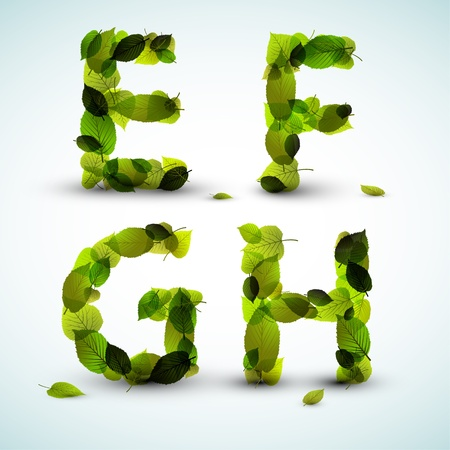 letters alphabet: Alphabet letters made from fresh green leafs