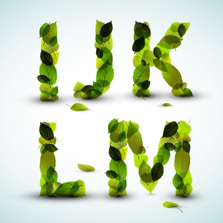 bright alphabet: Alphabet letters made from fresh green leafs