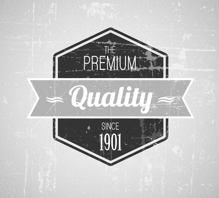 Old dark retro vintage grunge label - premium quality. black and white version Stock Vector - 12489801