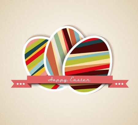 easter egg: Retro Paper card with striped easter eggs and red ribbon