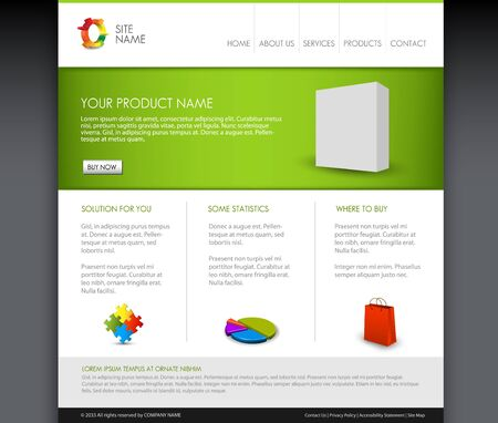 Modern product homepage  template - Green version Vector