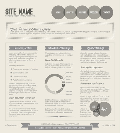 web pages: Black and white retro vintage grunge web page template Illustration