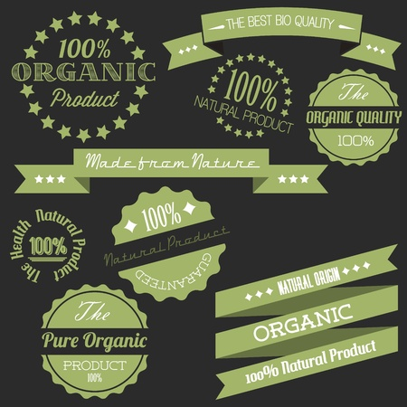 Old dark green retro vintage elements for organic natural items Vector