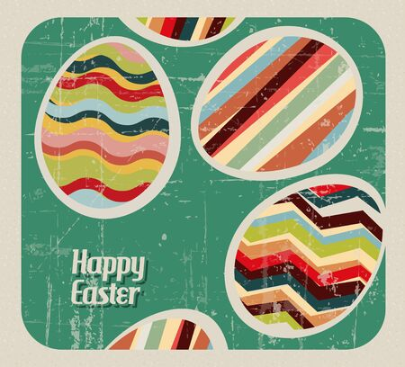 Paper card with striped easter eggs Vector