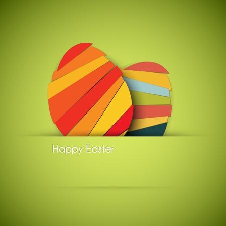 huevo caricatura: Tarjeta de papel con rayas de los huevos de Pascua Vectores