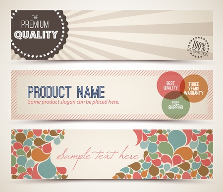 Set of retro horizontal banners with place for your text Vector