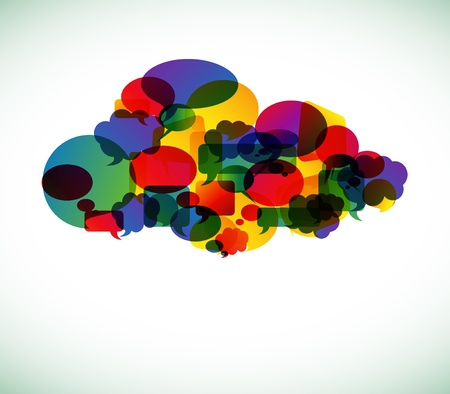 Cloud computing icon made from colorful speech bubbles illustration Vector