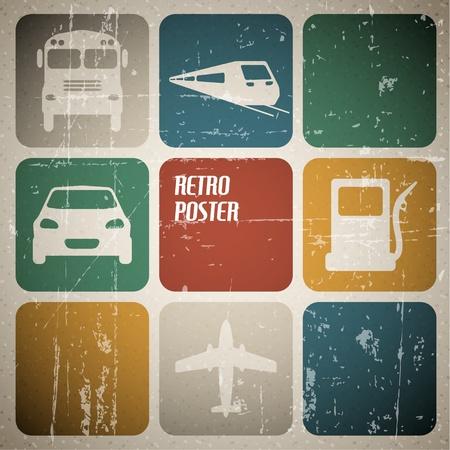 air traffic: Cartel de transporte de la vendimia con lugar para el texto Vectores