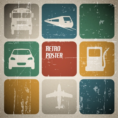 bus station: Vintage transport poster with place for your text