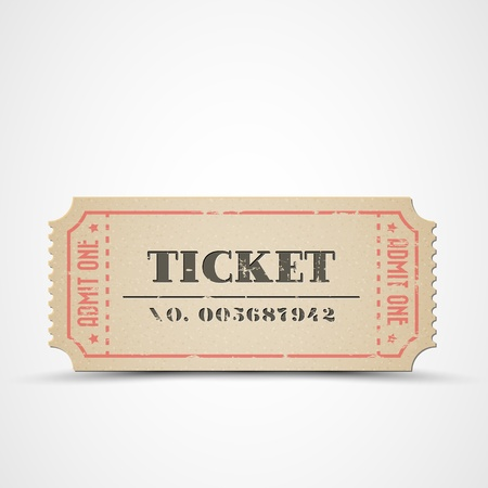 cinema ticket: Old vintage paper ticket with number