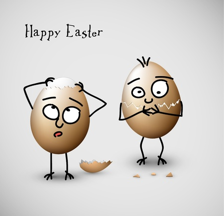 eggshells: Funny easter eggs - Happy Easter vector Card Illustration