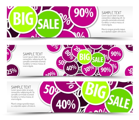 Set of big sale horizontal banners - with place for your text Vector