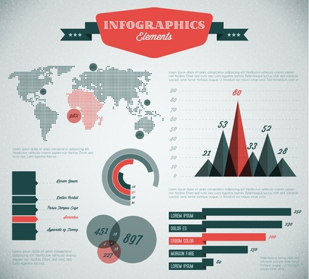 pie diagrams: teal and red Vector  retro  vintage set of Infographic elements for your documents and reports