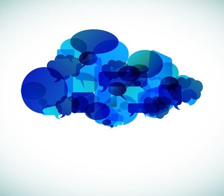 cloud technology: Cloud computing icon made from blue speech bubbles - vector illustration