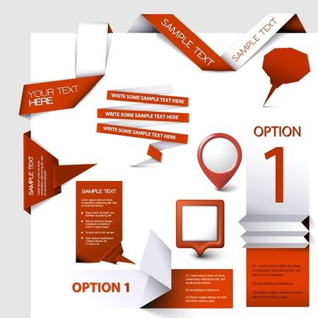 Collection of red Vector web elements Vector