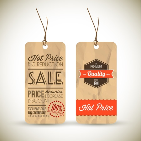 crumple: Old retro vintage grunge tags for premium quality and sale