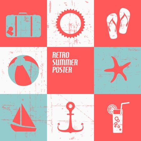 Vector summer poster made from icons - retro blue and red version Vector