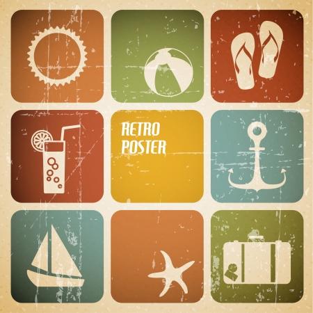verano: Vector cartel de verano a partir de iconos - versión en color retro Vectores