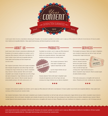 web design icon: Retro vintage grunge web page template - red version Illustration