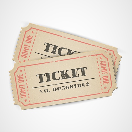 Old Vector vintage paper tickets with numbers Illustration