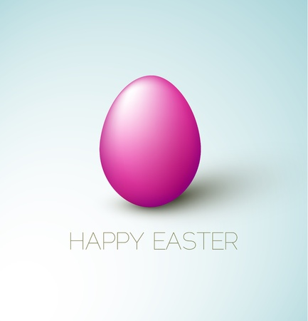 Simple vector Happy Easter card with purple egg on the blue background Vector