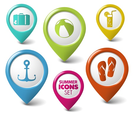 3d pointer: Set of summer holiday vector round 3D pointers Illustration