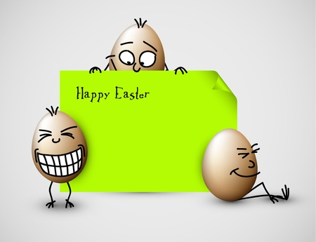 eggshells: Funny vector easter eggs - Happy green Easter Card Illustration
