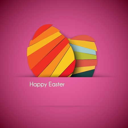 stripy: Vector purple Paper card with striped easter eggs Illustration