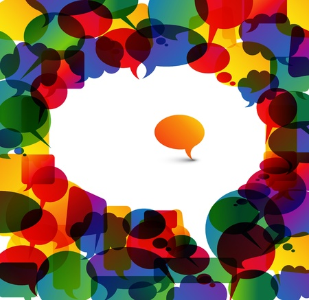 think big: Big white speech bubble made from colorful small bubbles