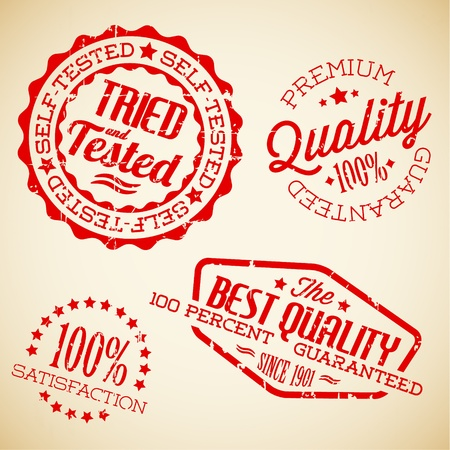 Vector retro red vintage stamps for quality