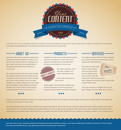 Retro vintage grunge web page template - blue version Stock Vector - 12900219