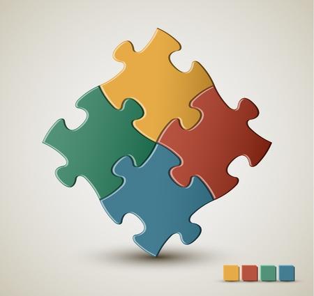 piezas de rompecabezas: Resumen de vectores de puzzle  soluci�n de fondo con los colores retro