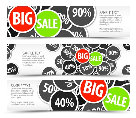 discount banner: Set of vector big sale horizontal banners - with place for your text Illustration
