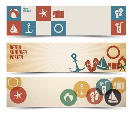 zomer: Set van retro zomer horizontale banners - met plaats voor uw tekst Stock Illustratie