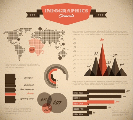 text box design: Brown and red Vector  retro  vintage set of Infographic elements for your documents and reports