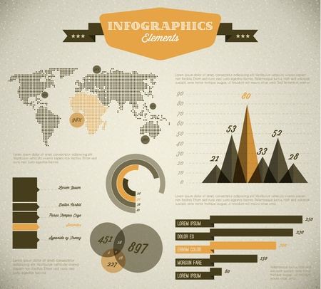 Yellow Vector  retro  vintage set of Infographic elements for your documents and reports  Vector