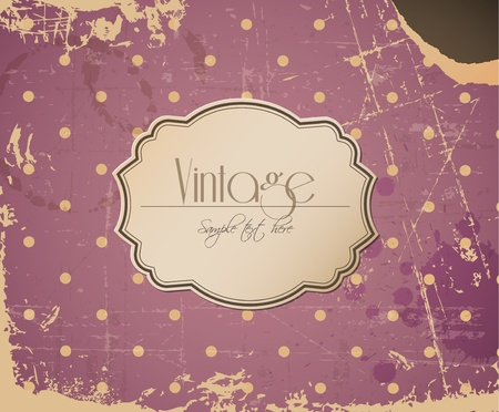 nameplate: Pink Vector grunge retro vintage background with label and place for your text Illustration