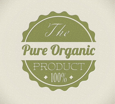 seal brown: Old vector round retro vintage grunge stamp for bio  organic product