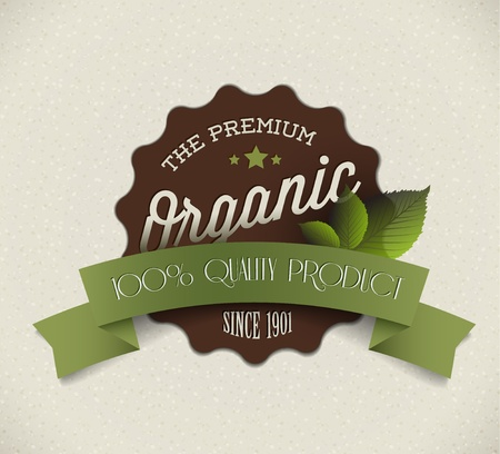 Old vector round retro vintage grunge label for bio  organic product Vector