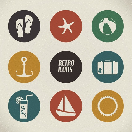 flip flop: Vector summer poster made from icons - retro color version