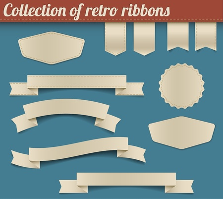 vintage badge: Set of vector retro ribbons, labels, stickers, tabs and tags Illustration