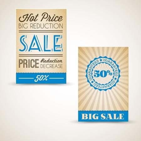 Old vector retro vintage grunge cards for sale - blue version Stock Vector - 13129313