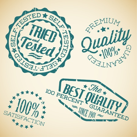 guaranty: Vector retro teal vintage stamps for quality