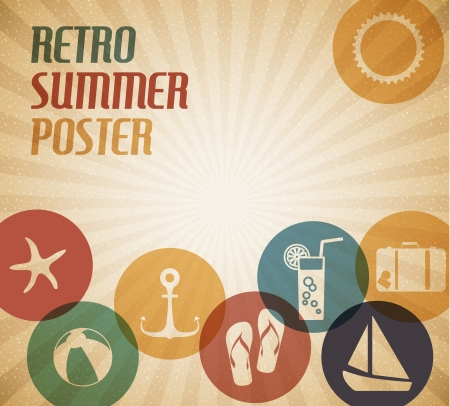 summer drink: Vector summer poster with the sun and summer icons