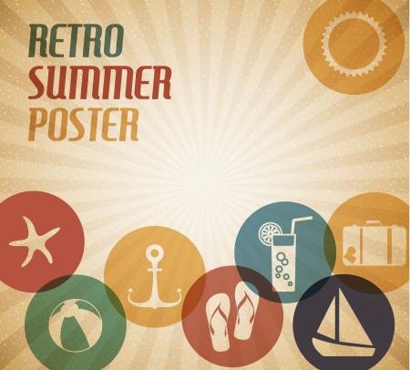 zomers drankje: Vector zomer poster met de zon en de zomer iconen