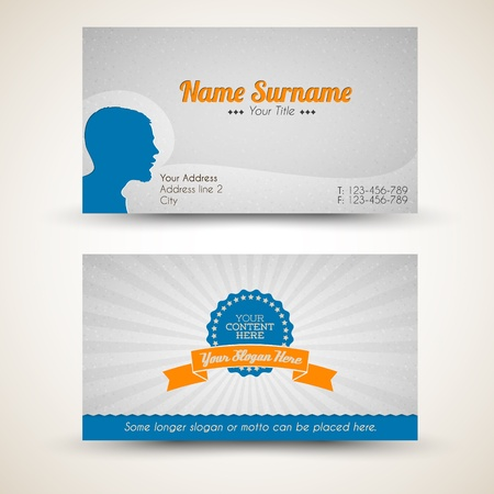 brand name: Vector old-style retro vintage business card - both front and back side