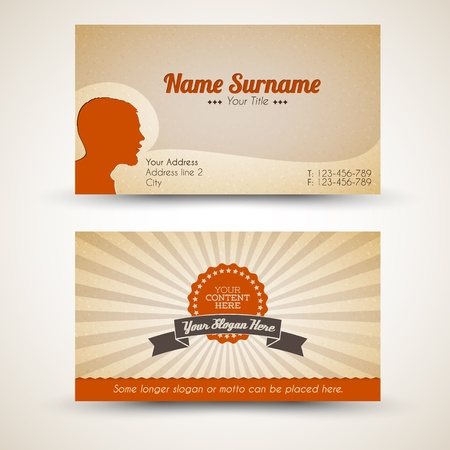 picture card: Vector old-style retro vintage business card - both front and back side