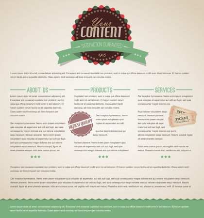 Retro vintage grunge web page template - green version Vector