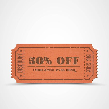 Old Vector orange vintage paper sale coupon with code Stock Vector - 13129314