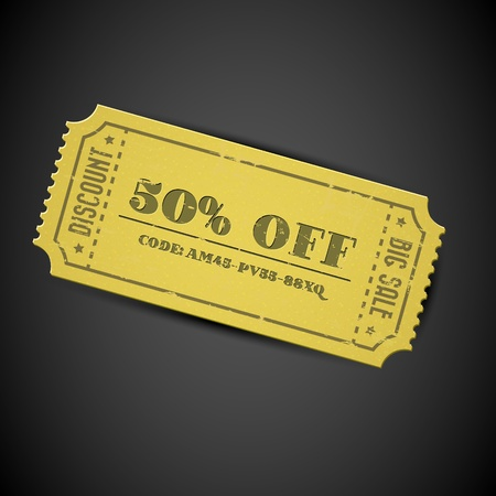 promotional offer: Old Yellow Vector vintage paper sale coupon with code on dark background Illustration